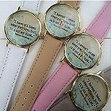 Bella Orologi, Watch viaggiare - mappa orologio mondo - regalo viaggi - citazioni watch - orologio in pelle vintage - libro della vigilanza unisex ( Colore : Grigio , Sesso : Donna )