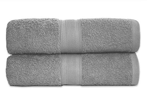 2er Pack Frottier Saunatücher Set 80x200cm - Qualität 500 g/m² - 100% Baumwolle in 19 modernen Farben (Silber /Hellgrau)
