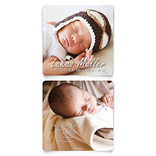 10 x Geburtskarten Babykarten Geburt Baby individuell Mädchen Junge - Fotokarte (Danke-karten Band)