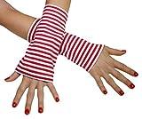 Immerschön farbenfrohe Armstulpen Modell 1 Streifen rot-weiß - Pulswärmer - handgearbeitet - jedes Teil ein Unikat as 1