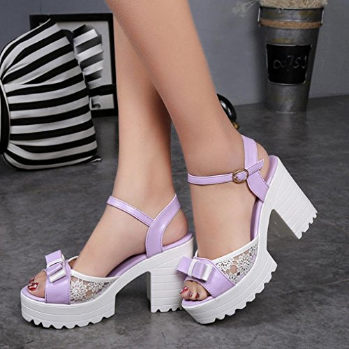 Transer® Damen Keilabsatz mit Bowknot Atmungsaktiv Sandalen Weiß Lila PU+Kunststoff Dickes High-Heels Sandalen Lila