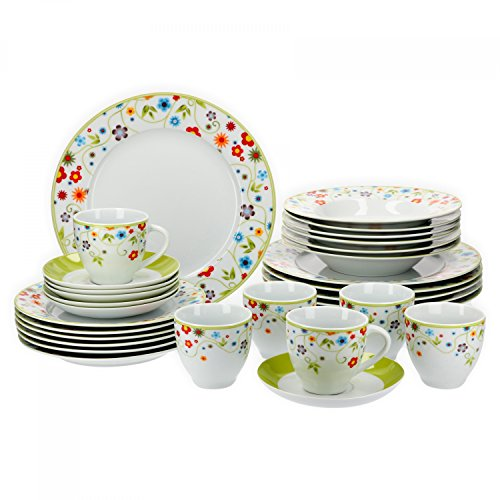 ertiges Porzellan Geschirrset für 6 Personen für Gastro Hotel Privat I zweifarbiges Speiseservice-Tafel-Set Spülmaschinensicher I Kombi-Service 30-teilig Weiss Flowers ()
