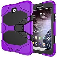 Galaxy Tab S28.0Caes, a prueba de golpes a prueba de polvo impermeable duro híbrido Armor diseño resistente con función atril de Protector de pantalla para Samsung Galaxy Tab S28.0SM-T710/SM-T7158Inch T710-G Purple