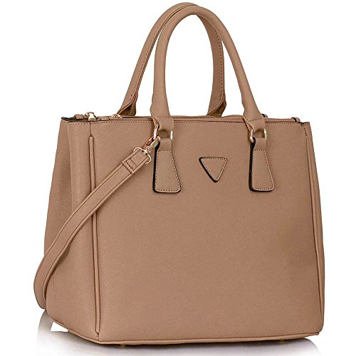 Trend Star Women New Designer handbags shoulder bags leatherette celebrity style fashion Large Tote B - Nackt