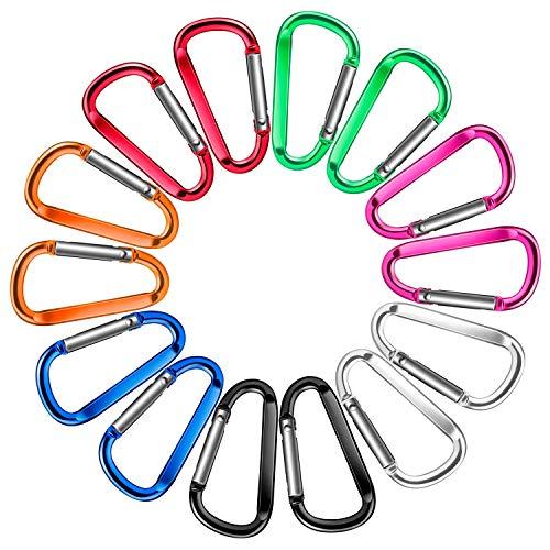 PAMIYO 14 Stück Karabiner Schlüsselanhänger, Mini Karabinerhaken Alu klein Schlüssel Karabiner Verschluss Karabiner