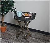 Tablett-Tisch / Beistelltisch Holz Braun mit schönem Metallrand