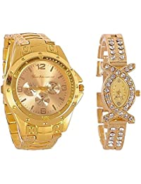 Maan International MI0412Gold Analog Casual Classical Gold Dial Wrist Couple Watch's