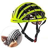 Lixada Vélo Casque Pliable Casque De Vélo Adulte Vélo De Route Casque De Sécurité Léger Sport Équipement De Protection (Jaune Fluorescent)