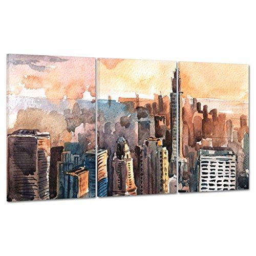 Bild auf Leinwand Canvas–Gerahmt–fertig zum Aufhängen–Manhattan NY New York–Zeichnung Aquarell Digitaler 100x50cm