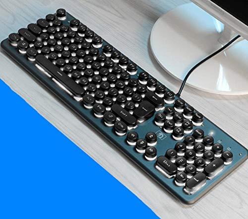 USB-Kabel-Spieltastatur, rundes Knopfdesign der Retro- Schreibmaschine, Schreibkomfort@Schwarzes, weißes Licht