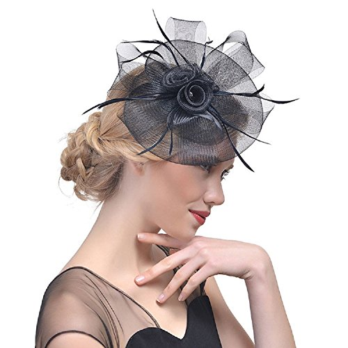 Ishine cerchietto con piume e veletta- capelli della piuma fiore clip donne accessorio per capelli da sposa per halloween cocktail cerimonia