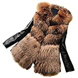HaiDean Damen Ledermantel Winter Elegant Pelzmantel Langarm Warme Pelzkragen Kunstpelz Party Jungen Chic Hochwertigem Lederjacke Felljacke (Color : Darkbrown, Size : S)