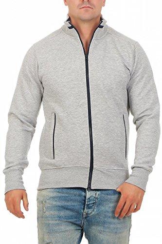 Happy Clothing Herren Sweatjacke sportlich ohne Kapuze - gestreifte Trainingsjacke - Sweatshirtjacke - Zip-Jacke Reißverschluss mit Kragen, Größe:L, Farbe:Grau meliert