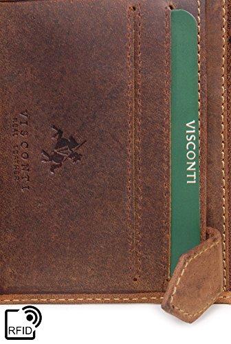 Portafoglio uomo in pelle regalo Visconti - 708 Olio Marrone Chiaro-RFID