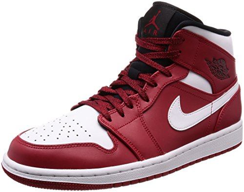 Schuhe, Lebron Jordan James (Nike Herren Air Jordan 1 Mid Basketballschuhe, Nero (Gym Red/White/Black 605), 41 EU)