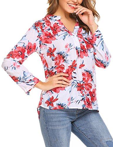 Meaneor Damen Locker Casual Bluse mit allover Blumenprint Beiläufig Bluse Schluppenbluse Klassic Hemd Blusenshirt Loose fit Baumwolle (A)Blumenprint