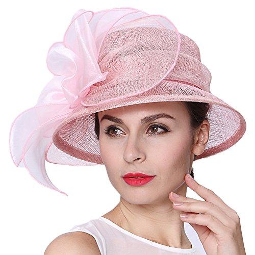 0f3da213859 June s Young Women 3 Layers Sinamay Wedding Hats Pink Sun Hat Saratoga Race  Course