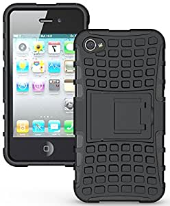 Heartly Flip Kick Stand Hard Dual Armor Hybrid Bumper Back Case Cover For Apple iPhone 4 4S 4G - Black