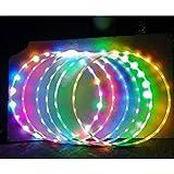 Balai Cerceau Multicolore de LED Glow Sport Hoop, Jouet pour cerceaux de Fitness de Musculation en Vrac, cerceaux de Sport Multi-Tailles pour Adultes (60/70/80/90CM)