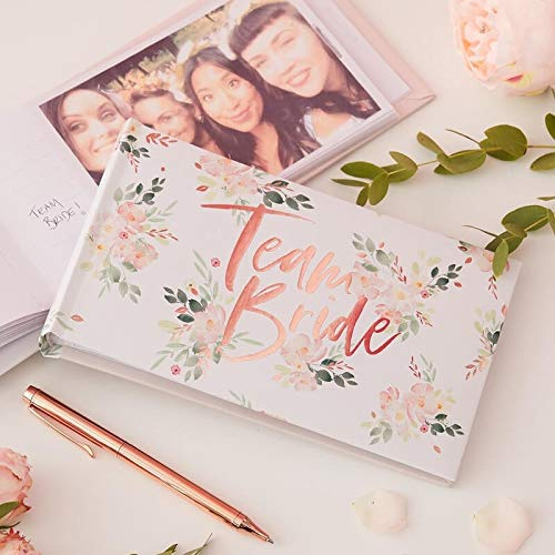 Gäste-Buch Foto-Album Team Bride Rosé-Gold Kupfer mit Blumen-Motiv - Gäste-Buch Junggesellinnen-Abschied, JGA-Party Photo-Album Braut Frau-en