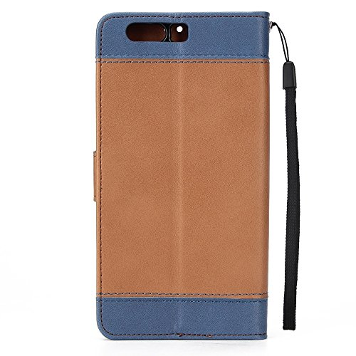 EKINHUI Case Cover Dual Color Matching Premium PU Leder Flip Stand Case Cover mit Card Cash Slots und Lanyard für Huawei P10 ( Color : Brown ) Brown