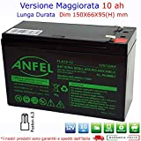 ANFEL Batteria ERMETICA al Piombo 12 V 10 AH Ricaricabile, ups, 150 X 66 X 95