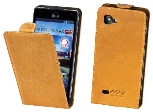 Akira Handmade Original PREMIUM QUALITÀ PELLE VERA Flip Case per LG P880 Optimus 4X HD Rosolare