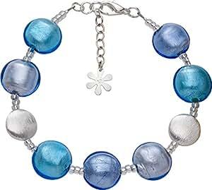 Valentina Murano Glass Disc Bracelet Blue