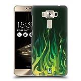 Head Case Designs Grün Feuer Hot Rod Flamme Ruckseite Hülle für Zenfone 3 Deluxe 5.5 ZS550KL