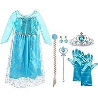 Vicloon prinsessenkostuum meisjes, ijskoningin ELSA jurk blauw/geel met diadeem, toverstaff, handschoenen en andere accessoires, voor Kerstmis, carnaval, party, Halloween, maat 100-150cm 4-5 Jahre Size 120 cm A-9pcs (4-5 Jahre, 120 Cm, Blau)