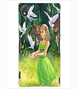 ColourCraft Cute Girl Design Back Case Cover for SONY XPERIA Z3