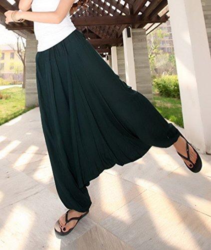 Aivtalk - Pantalons Harem Yoga Femme - Pantalons Népal Sarouel Taille élastique - Pantalons Casual été Vert Foncé