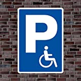 Parkplatzschild Symbol «Rollstuhlfahrer» - Hochwertiges Alu-Verbundmaterial - Größe 60 x 42cm (ca. DIN A2)