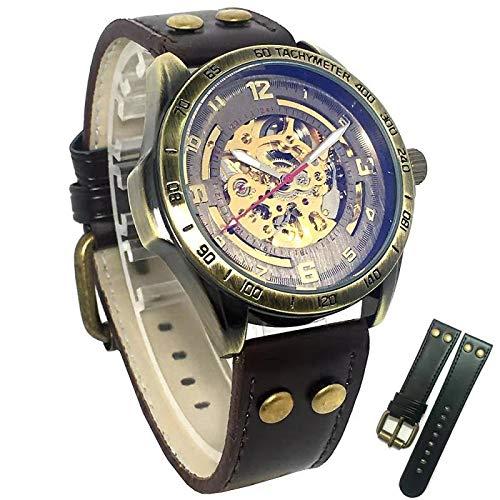 Retro Uhr Mechanisch ,Skelett Herren Damen Glasboden Armbanduhr Bronze mit Lederarmband (Bronze Glasböden)