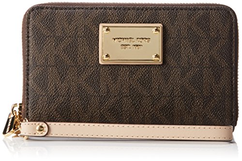 Michael Kors - Borsa Jet Set Travel Flat multifunzione da donna con cover per smartphone, porta carte e documenti, taglia unica, marrone (Braun (brown Signature)), Taglia unica