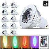 ELINKUME 10er-Pack GU10 RGB LED Lampe lampes 3W Strahler schön multicolor mit Ferbedienung dimmbar inklusive,230V