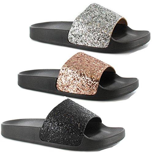 Definitely You Ladies Womens Ella Mule Sandals Slip On Glitter Rubber Footbed Sliders Beach Pool Shoes Size (UK 5, Black)