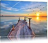 Steg mit Möwen bei Sonnenuntergang Format: 100x70 auf Leinwand, XXL riesige Bilder fertig gerahmt mit Keilrahmen, Kunstdruck auf Wandbild mit Rahmen, günstiger als Gemälde oder Ölbild, kein Poster oder Plakat