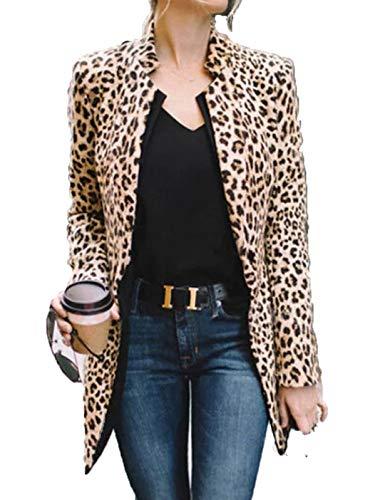 Eghunooye Manteau à Manches Longues pour Femmes Leopard Blouse Lady T-Shirt Slim Blazer Suit (Large, Imprimé léopard)