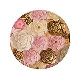 DIYthinker Braun Weiß Pink schönen Blumen Anti-Rutsch Boden Pet Matte rund Badezimmer Wohnzimmer Küche Tür 60/50cm Geschenk, Gesponnenes Polyester, mehrfarbig, 60X60cm