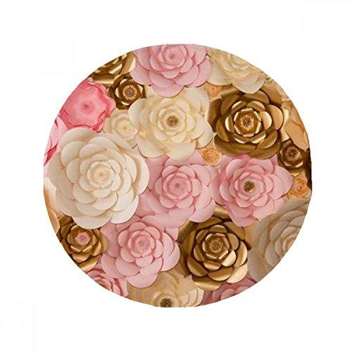 DIYthinker Braun Weiß Pink schönen Blumen Anti-Rutsch Boden Pet Matte rund Badezimmer Wohnzimmer Küche Tür 60/50cm Geschenk, Gesponnenes Polyester, mehrfarbig, 50X50cm (Blumen-boden-matte)