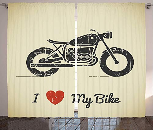 FAFANIQ Manly Decor Curtains, Vintage Grunge Flat Looking Motorcycle and I Love...