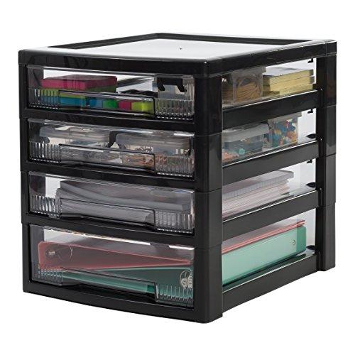 IRIS, Schubladenbox / Tischschubladenbox / Bürobox 'Super Clear Chest', SCCS-310, Aufbewahrung für Schreibtisch, mit Rollen, Kunststoff, schwarz / transparent