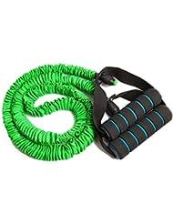 Goma elástica «MuscleMaster» cinta elástica premium con agarres y 3 resistencias (suave, media, fuerte). Excelente cinta innovadora para hacer ejercicio en casa y entrenar todo el cuerpo / verde (suave)