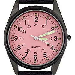 Orkina Black Case Pink Dial Nylon Canvas Strap Fashion Wrist Watch P104IP-BP