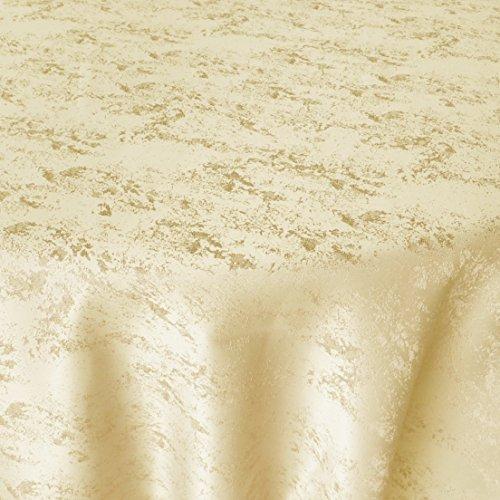 DecoHomeTextil Jacquard Tischdecke Granit Tischdecke Rund Champagner 140 cm Meliert mit Lotus Effekt Größe & Farbe wählbar