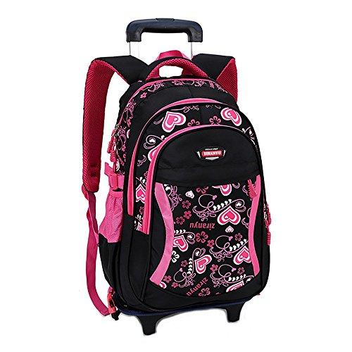 Oofay trolley per ragazze doppio utilizzo borsa shouders rimovibile peso ridotto zaino femmina 12,2 * 7 * 17,7 pollici,black