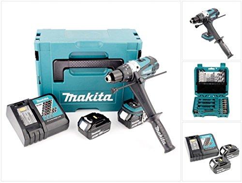 Preisvergleich Produktbild Makita DHP 458 RFJ 18 V Akku Schlagbohrschrauber im Makpac mit 2x 3 Ah Akku und Ladegerät und 60 tlg. Bit und Bohrer Set