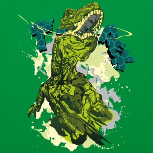 Spreadshirt Animal Planet T-rex Dinosaurier Stoffbeutel Kelly Green