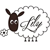 IncredibleWallDecals MN572 Wandaufkleber für Mädchen, personalisierbarer Namen-Aufkleber, Schafe, für Kinderzimmer, Schlafzimmer, Heimdeko, Fensterbild, Wandbild - 96cmTall x 133cmWide